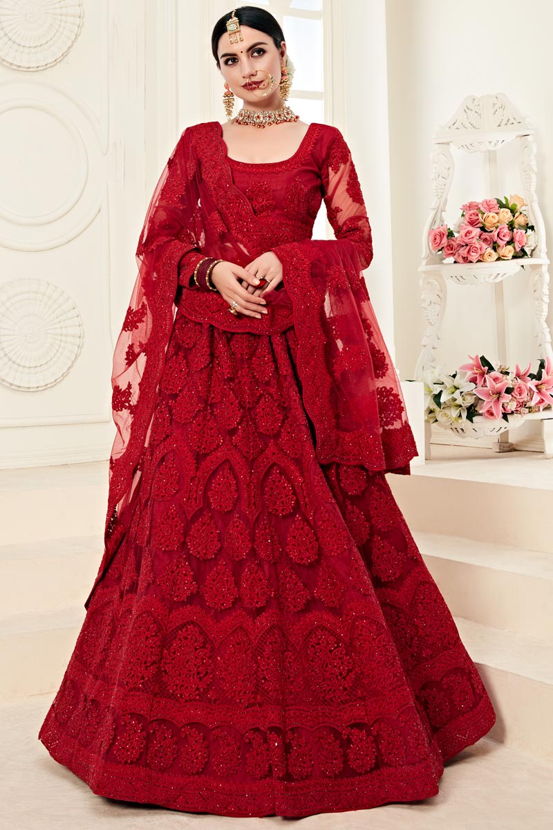 Designer Embroidered Net Fabric Function Wear Red Lehenga Choli