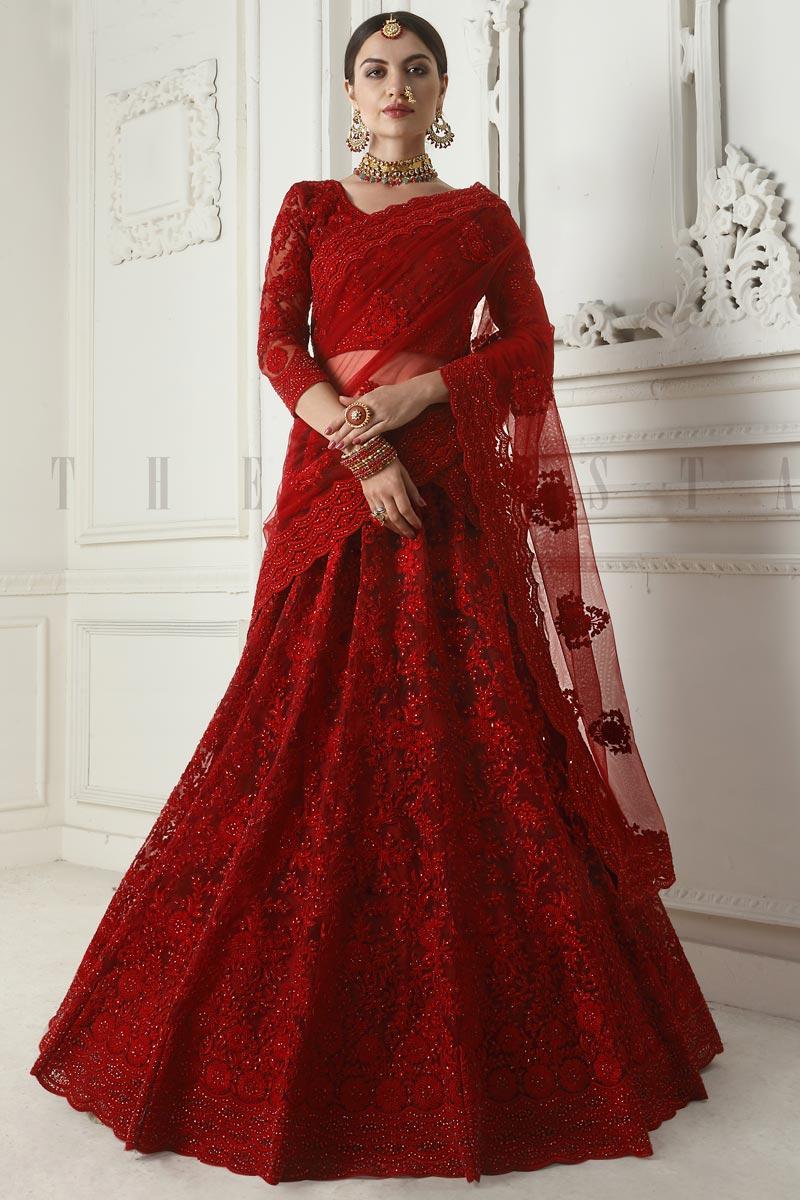 Net Fabric Function Wear Red Embroidered Designer Lehenga
