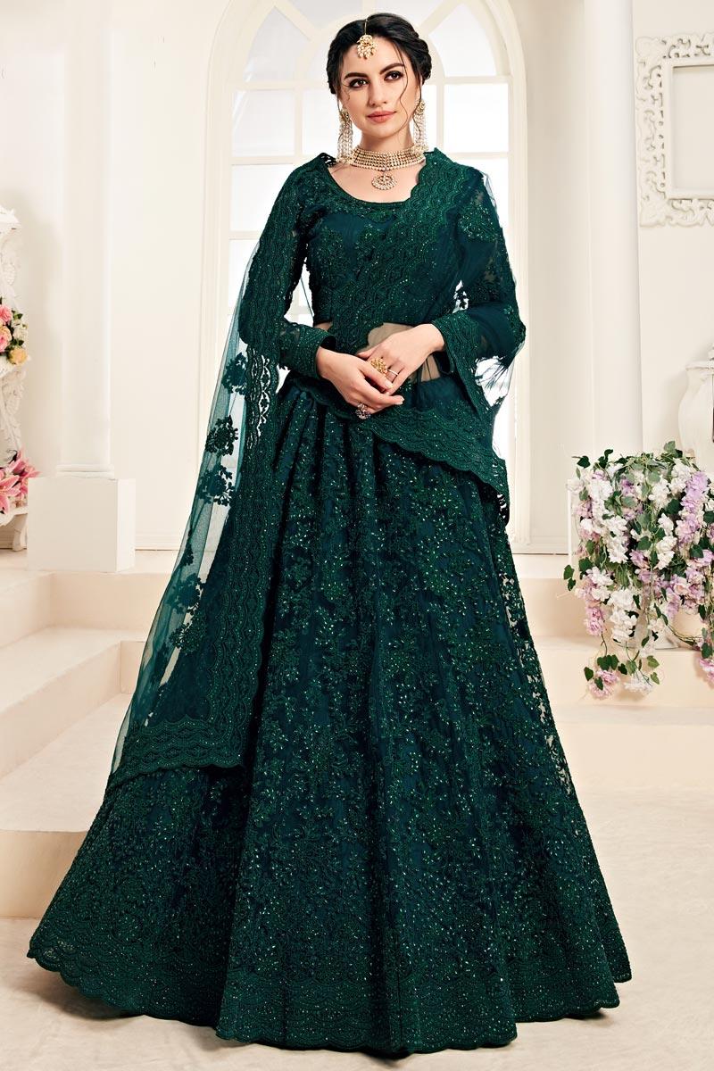 Function Wear Teal Embroidered Net Fabric Designer Lehenga Choli