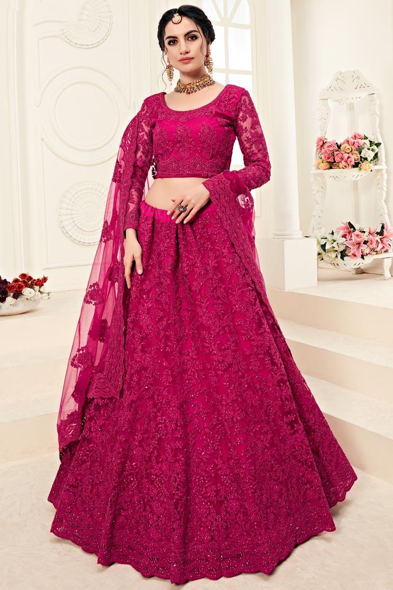 Rani Color Function Wear Designer Embroidered Net Fabric Lehenga
