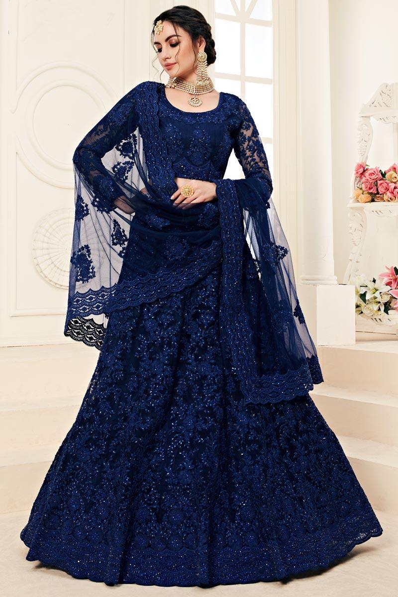 Function Wear Net Fabric Blue Embroidered Designer Lehenga Choli