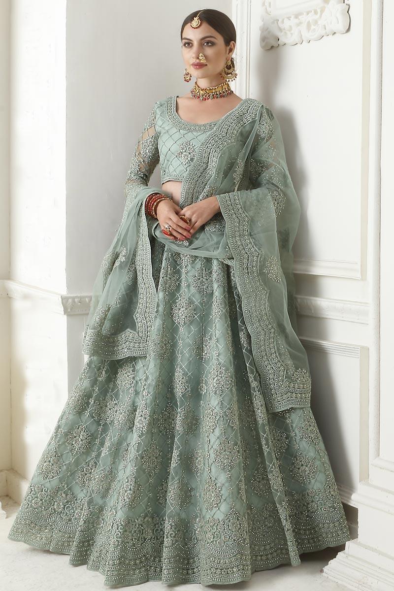 Cyan Sangeet Function Wear Designer Embroidered Lehenga In Net Fabric