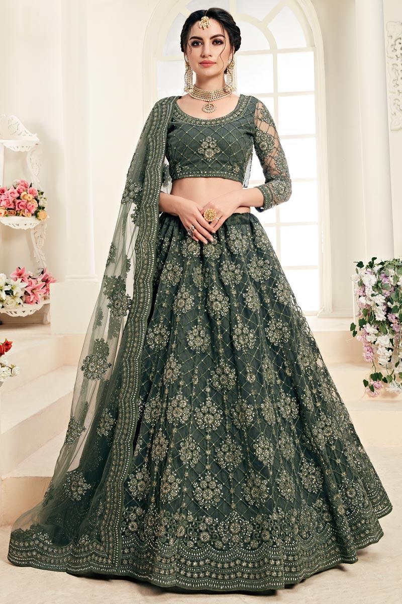 Designer Embroidered Mehendi Green Sangeet Function Wear Net Fabric Lehenga Choli