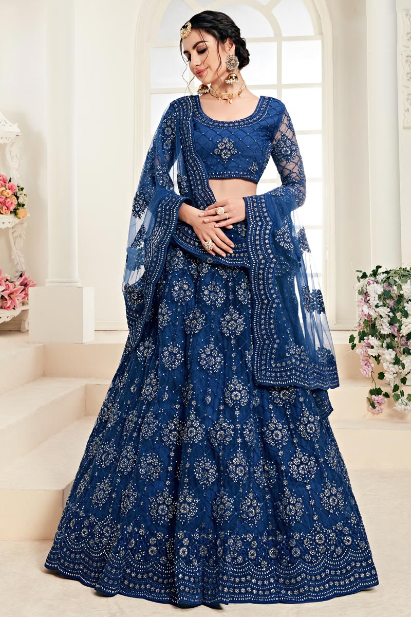 Blue Sangeet Function Wear Net Fabric Embroidered Designer Lehenga