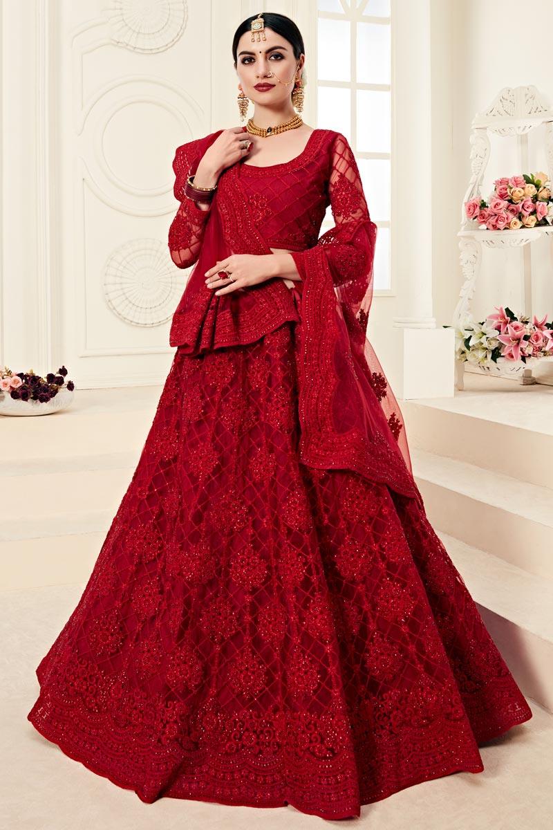 Sangeet Function Wear Net Fabric Embroidered Red Designer Lehenga Choli
