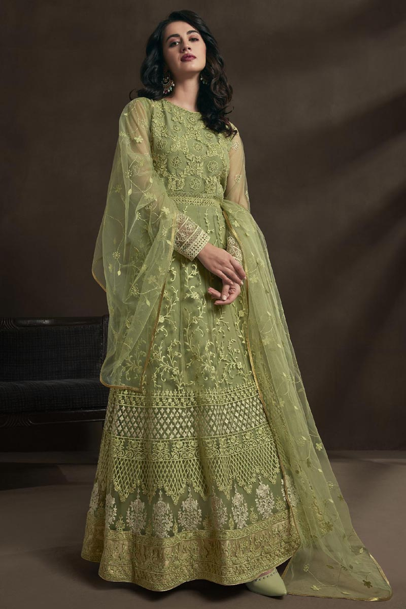 Designer Function Wear Sea Green Color Net Fabric Embroidered Gown