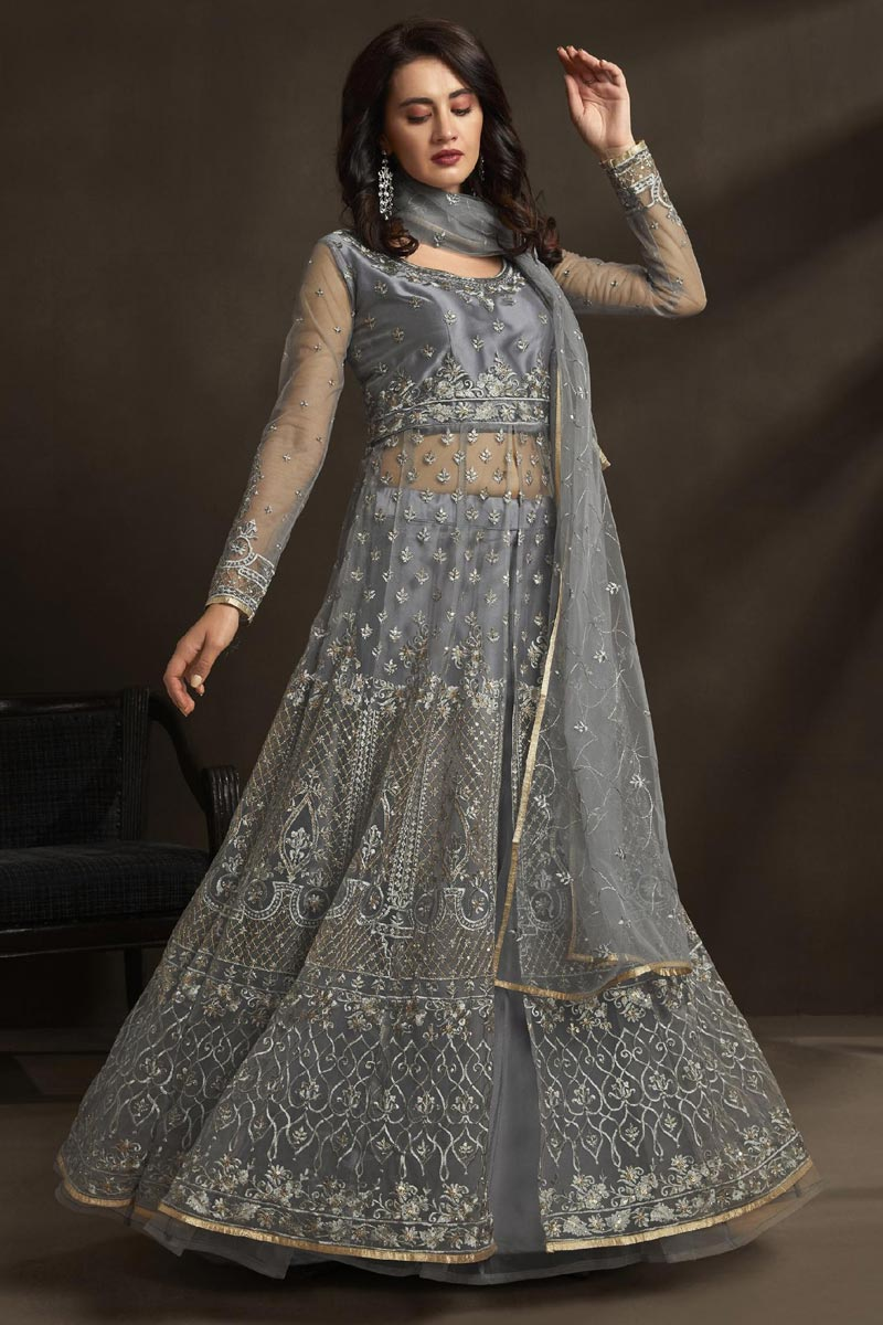 Function Wear Net Fabric Designer Embroidered Gown In Grey Color