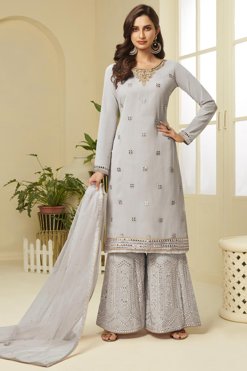 Grey Color Function Wear Fancy Embroidered Georgette Fabric Sharara Dress