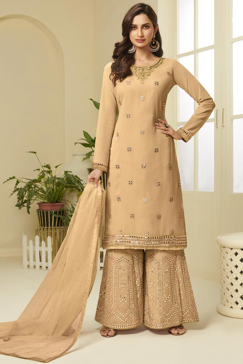 Georgette Fabric Function Wear Peach Color Fancy Embroidered Sharara Suit