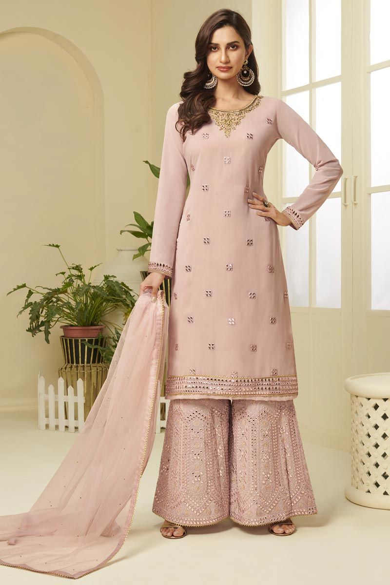 Pink Color Georgette Fabric Function Wear Fancy Embroidered Sharara Dress
