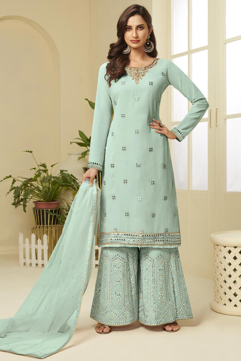 Georgette Fabric Function Wear Fancy Embroidered Sharara Dress In Sea Green Color