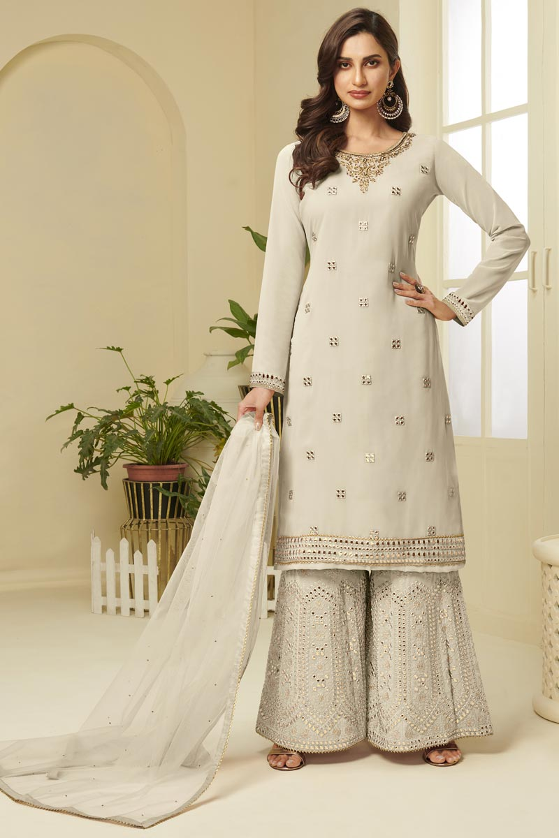 Function Wear Georgette Fabric Cream Color Fancy Embroidered Sharara Suit