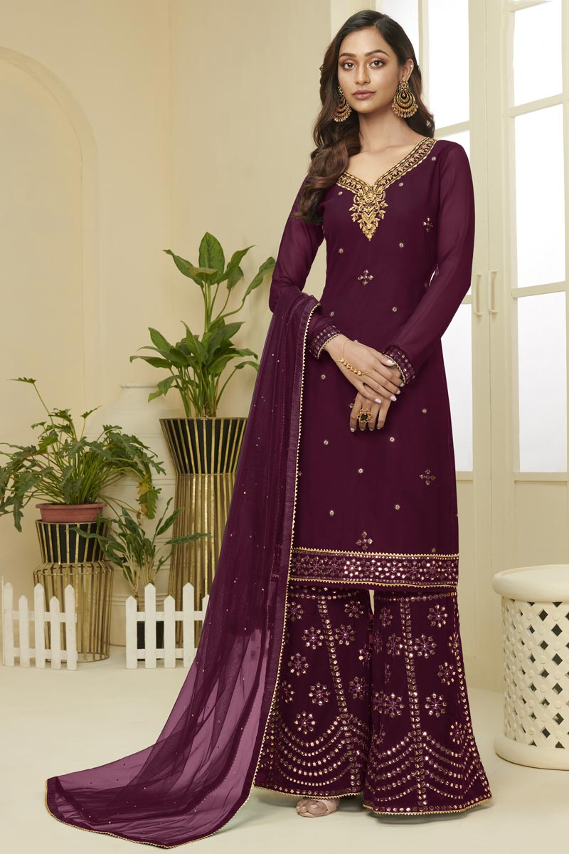 Georgette Fabric Function Wear Fancy Embroidered Wine Color Sharara Suit