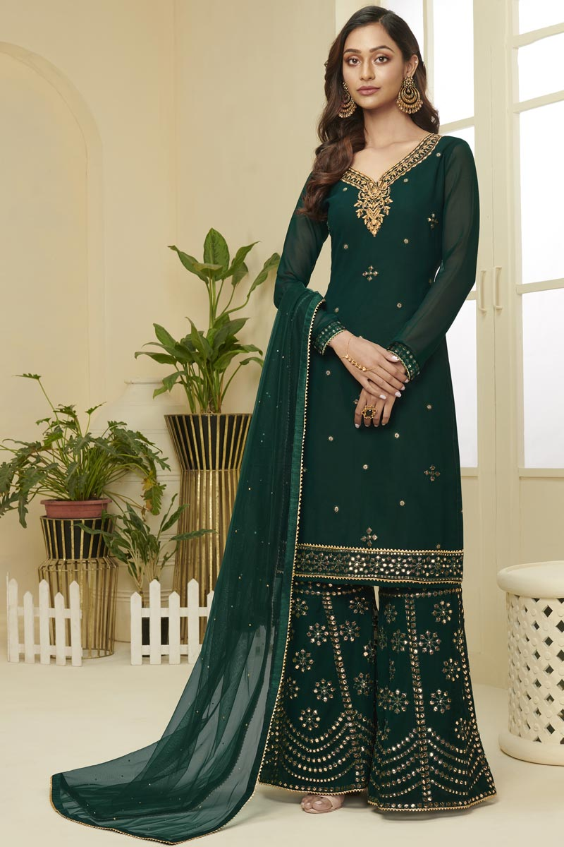 Georgette Fabric Function Wear Fancy Embroidered Dark Green Color Sharara Dress