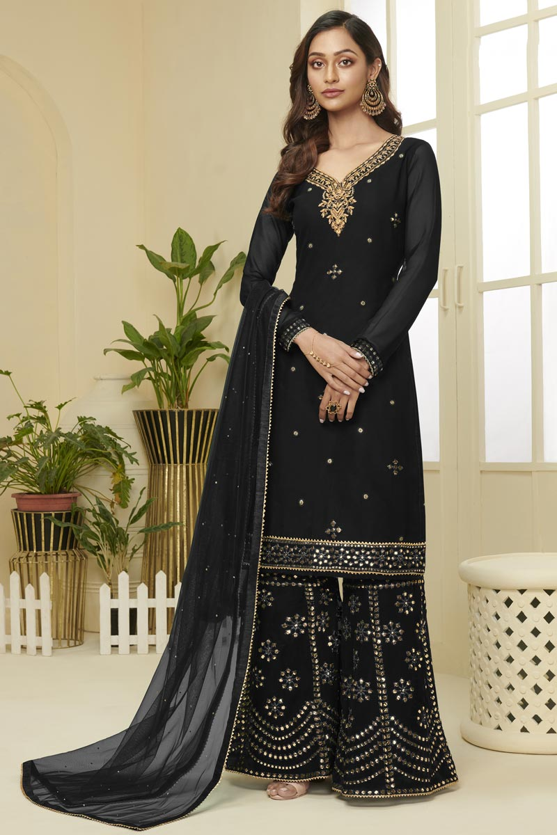 Black Color Function Wear Georgette Fabric Fancy Embroidered Sharara Suit