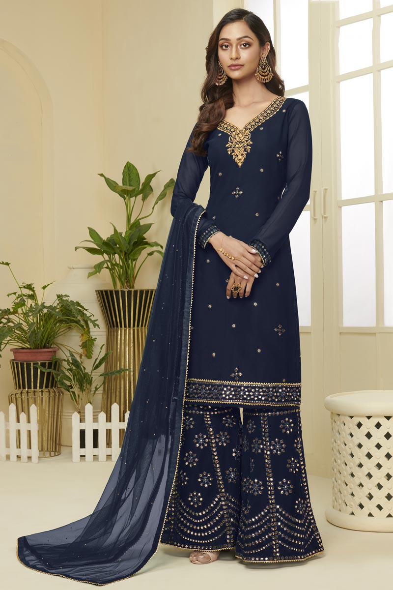 Georgette Fabric Navy Blue Color Function Wear Fancy Embroidered Sharara Dress