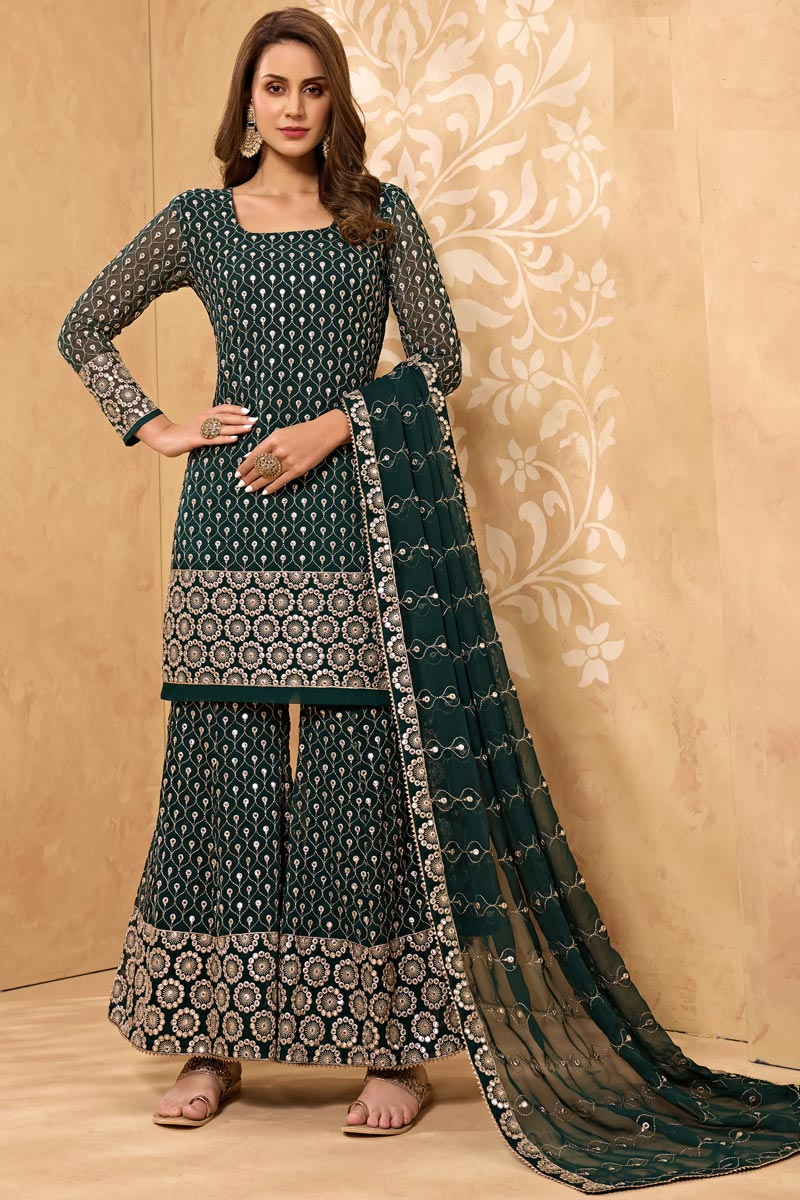 Dark Green Color Party Style Embroidered Georgette Fabric Sharara Suit