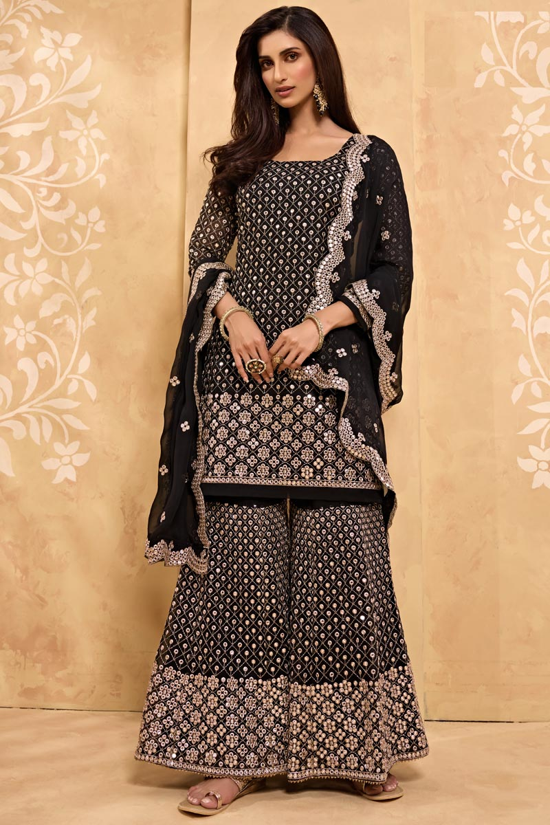 Party Style Embroidered Georgette Fabric Sharara Suit In Black Color