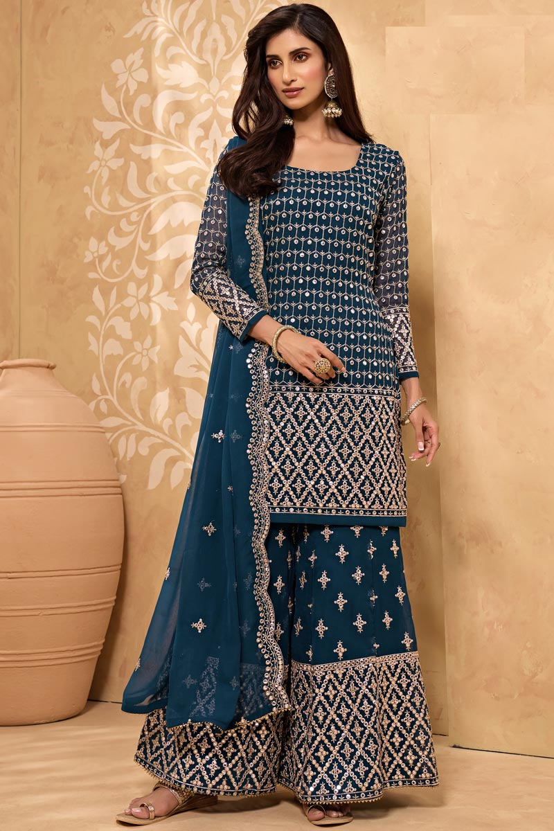 Georgette Fabric Party Style Teal Color Embroidered Sharara Suit