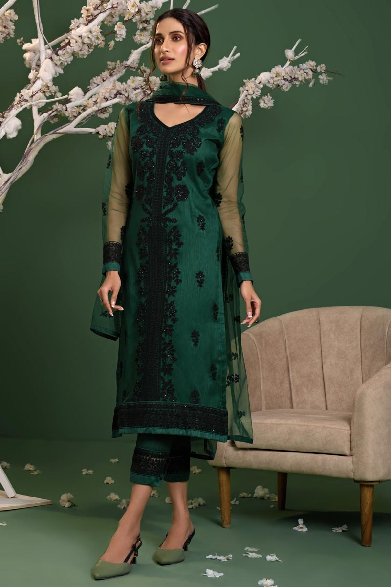 Dark Green Color Party Style Thread Embroidered Net Fabric Salwar Suit