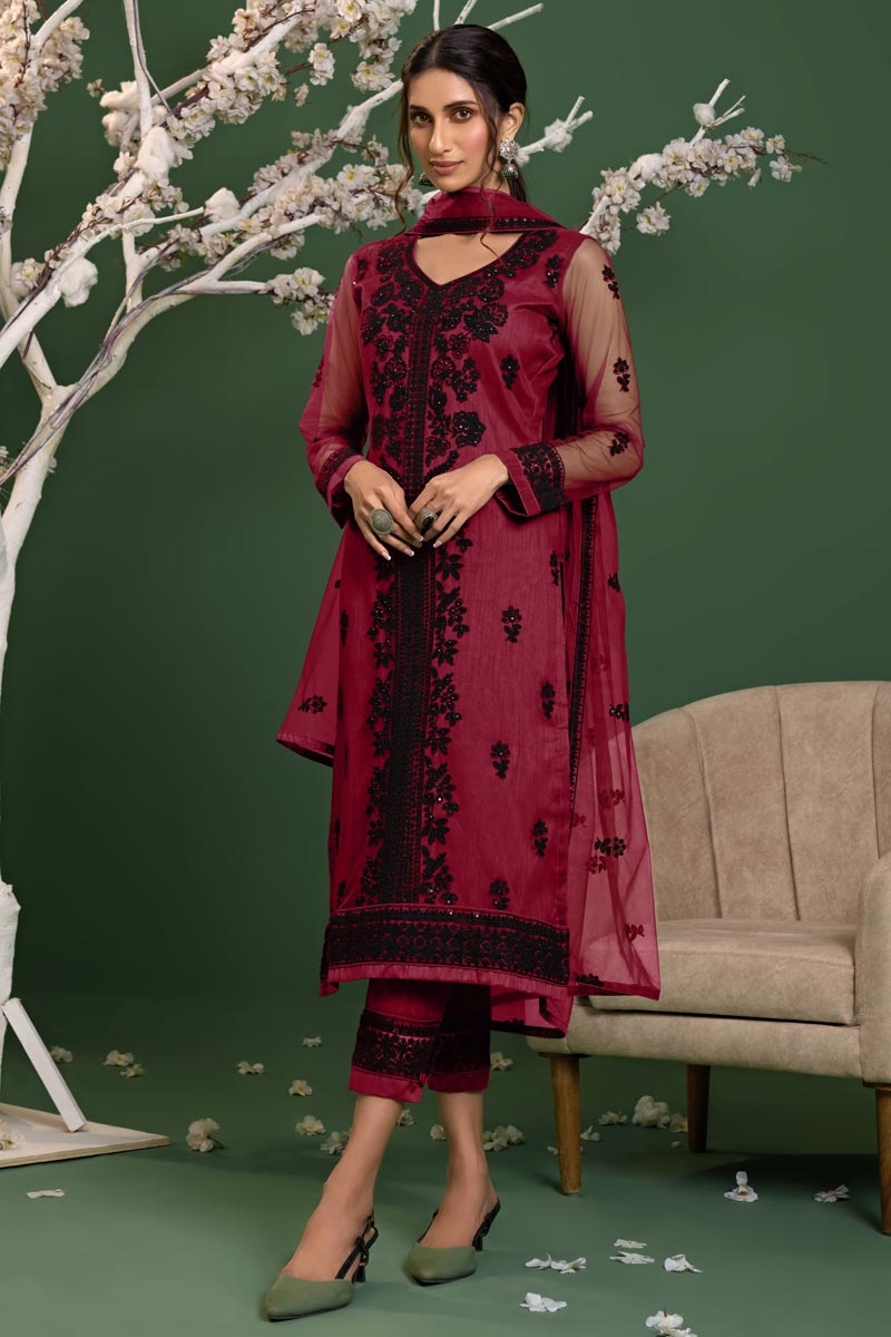 Pink Color Party Style Thread Embroidered Net Fabric Salwar Kameez