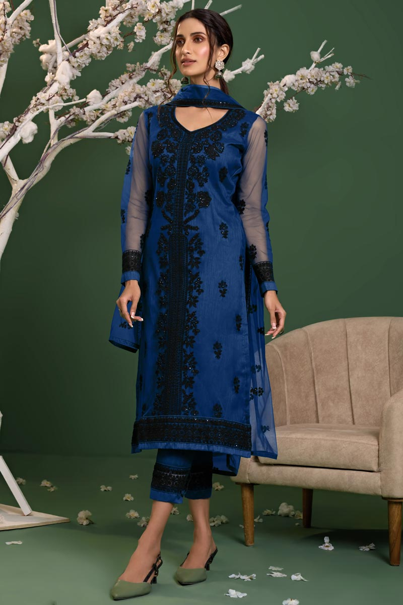 Net Fabric Party Style Blue Color Thread Embroidered Salwar Suit