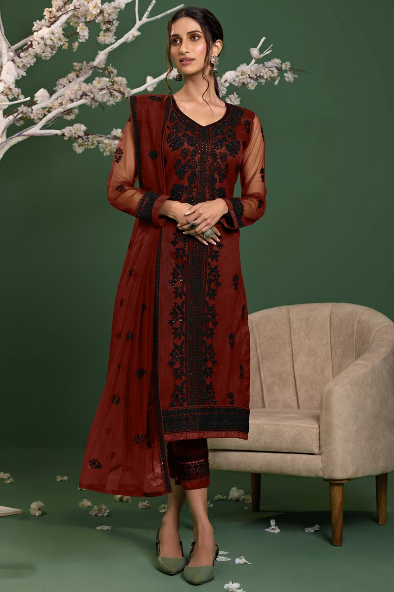 Maroon Color Net Fabric Party Style Thread Embroidered Salwar Kameez