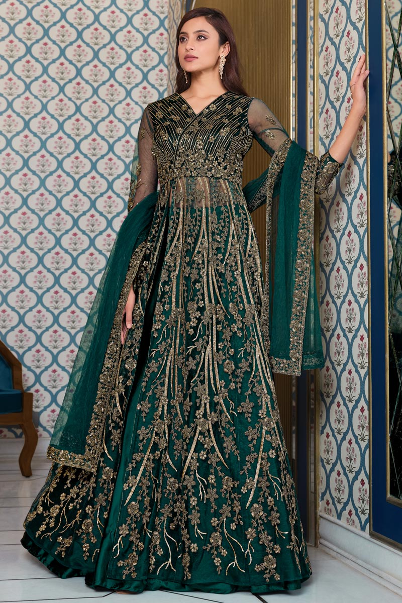 Dark Green Color Sangeet Wear Elegant Embroidered Net Fabric Gown Style Anarkali Suit