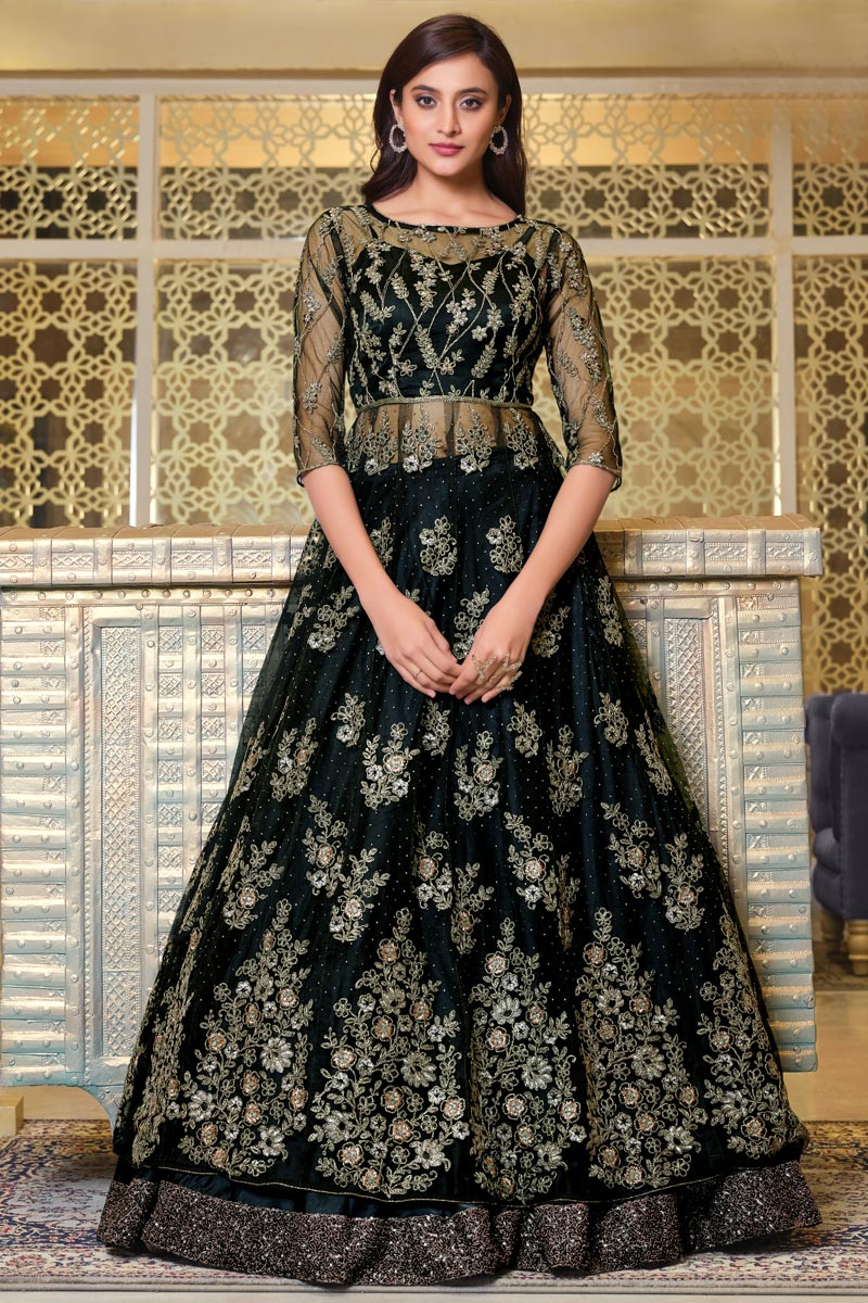 Net Fabric Sangeet Wear Elegant Embroidered Gown Style Anarkali Suit In Black Color