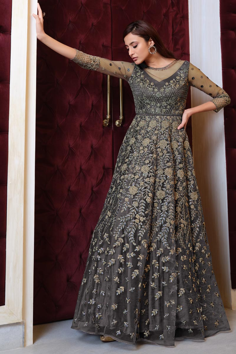 Sangeet Wear Grey Color Elegant Embroidered Gown Style Anarkali Suit Net Fabric
