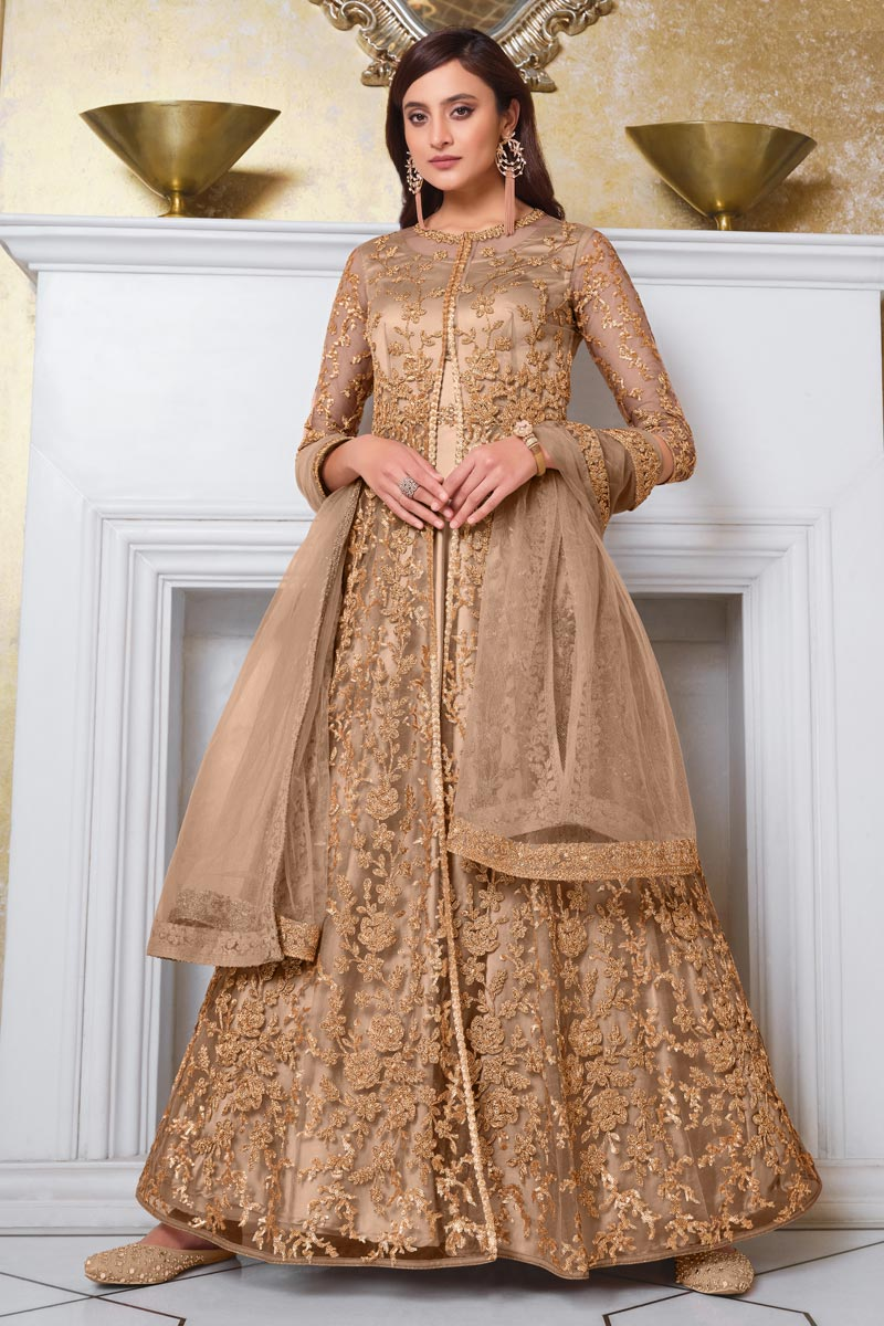 Sangeet Wear Chikoo Color Elegant Embroidered Gown Style Anarkali Suit In Net Fabric
