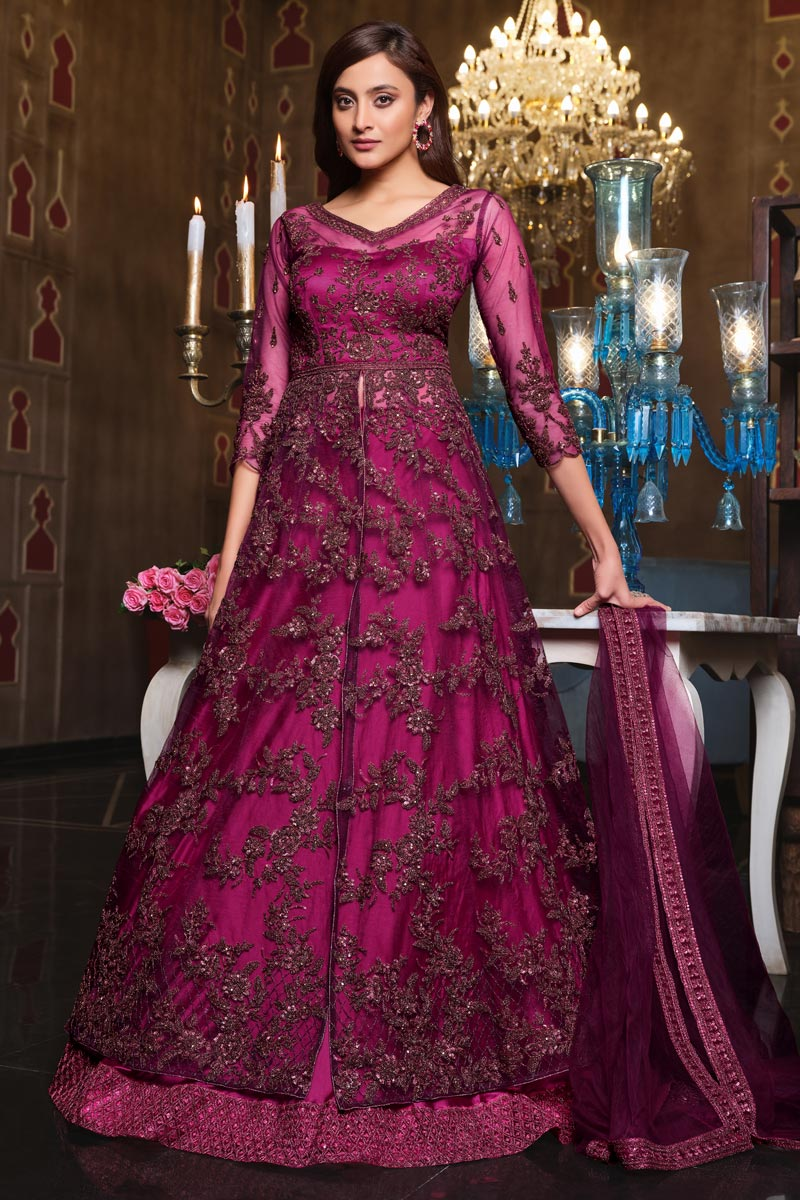 Wine Color Net Fabric Embroidered Wedding Wear Fancy Gown Style Anarkali Suit