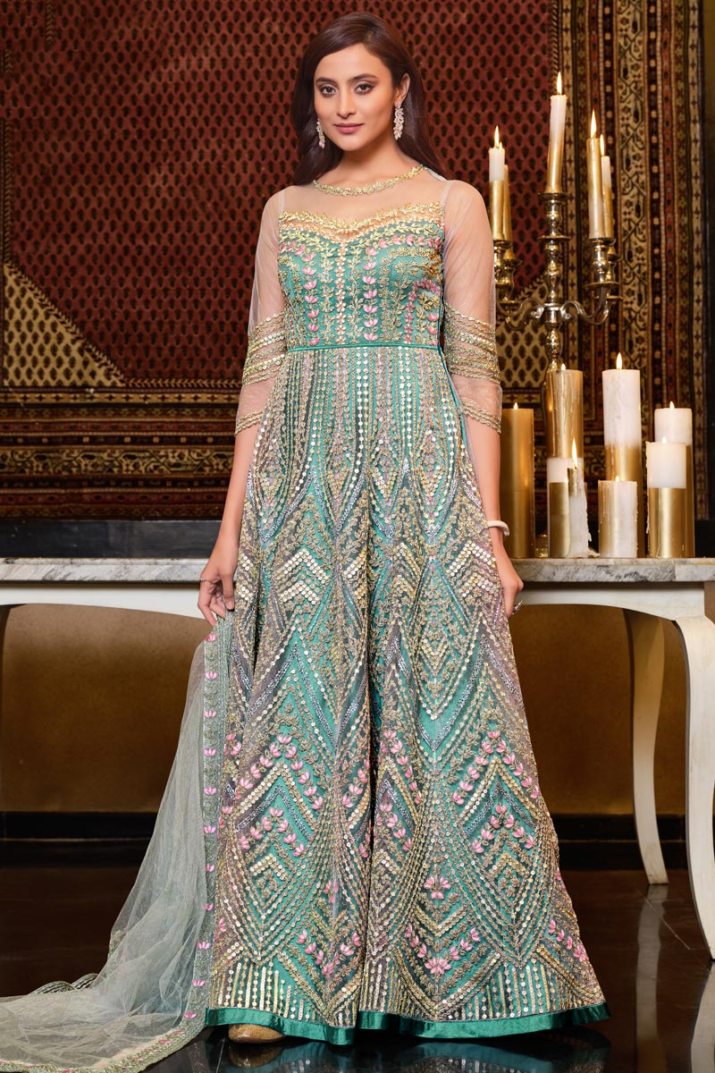 Net Fabric Embroidered Rception Wear Stylish Gown Style Anarkali Suit In Sea Green Color