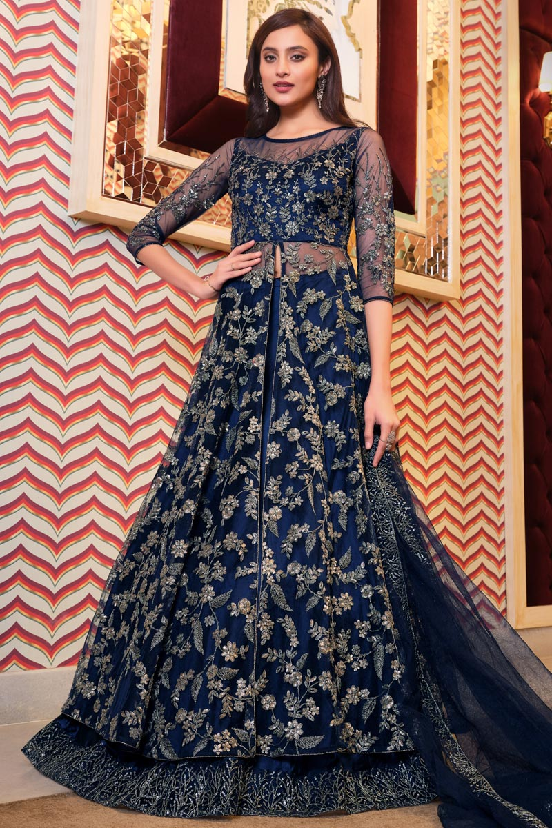 Embroidered Function Wear Designer Gown Style Anarkali Suit In Navy Blue Color Net Fabric