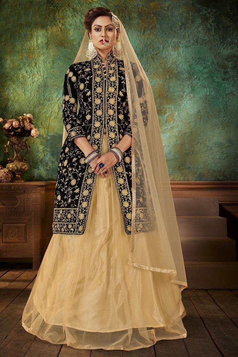 Velvet Fabric Fancy Sangeet Wear Embroidered Black Sharara Top Lehenga