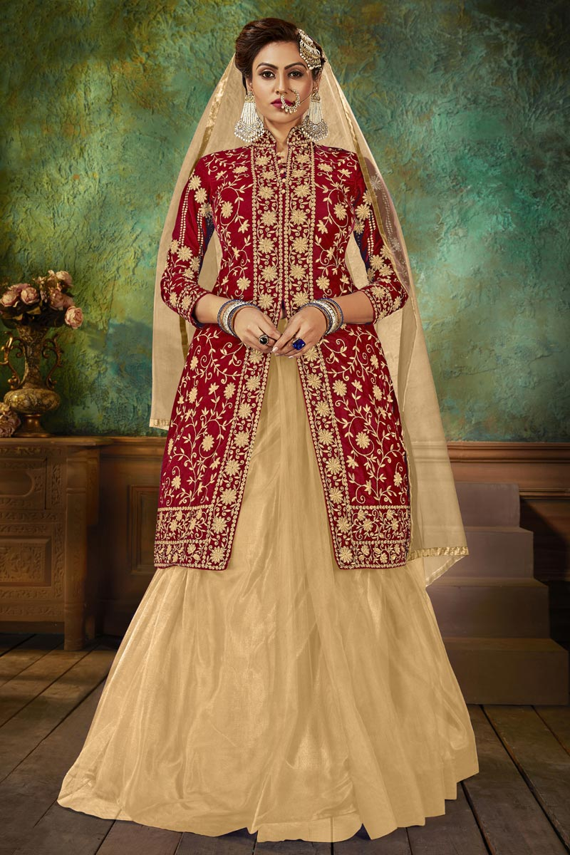 Fancy Red Embroidered Sangeet Wear Sharara Top Lehenga In Velvet Fabric
