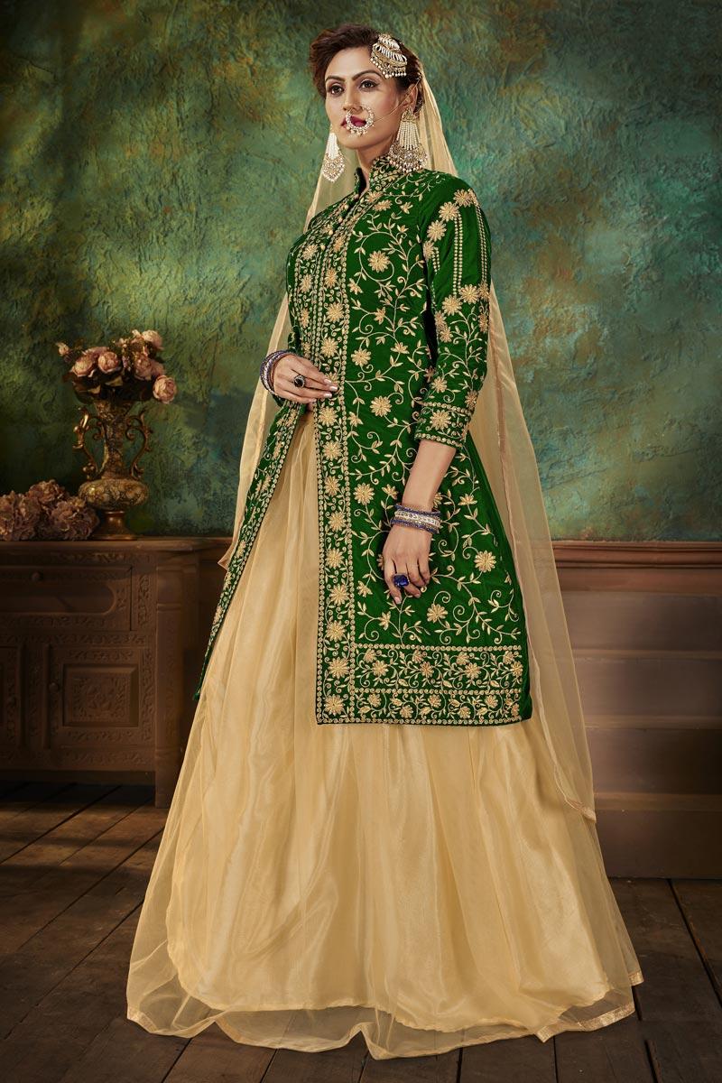 Velvet Fabric Fancy Sangeet Wear Green Embroidered Sharara Top Lehenga