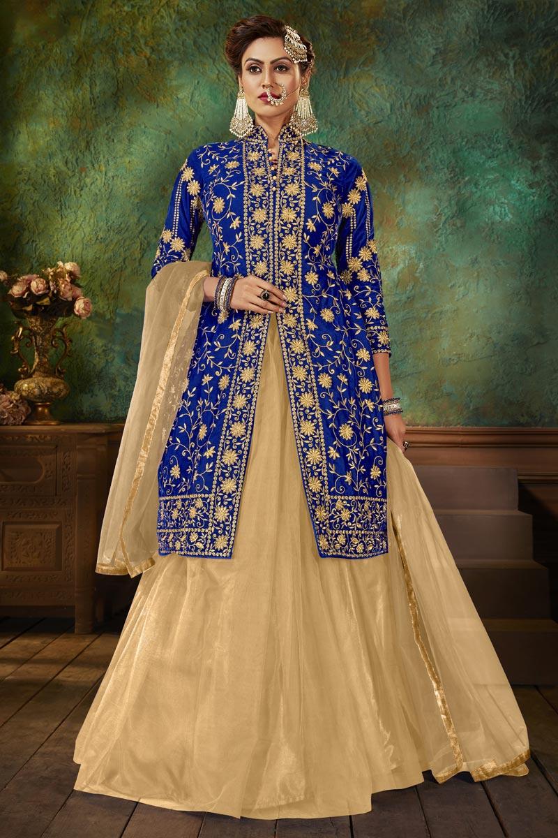 Fancy Sangeet Wear Velvet Fabric Embroidered Sharara Top Lehenga In Blue