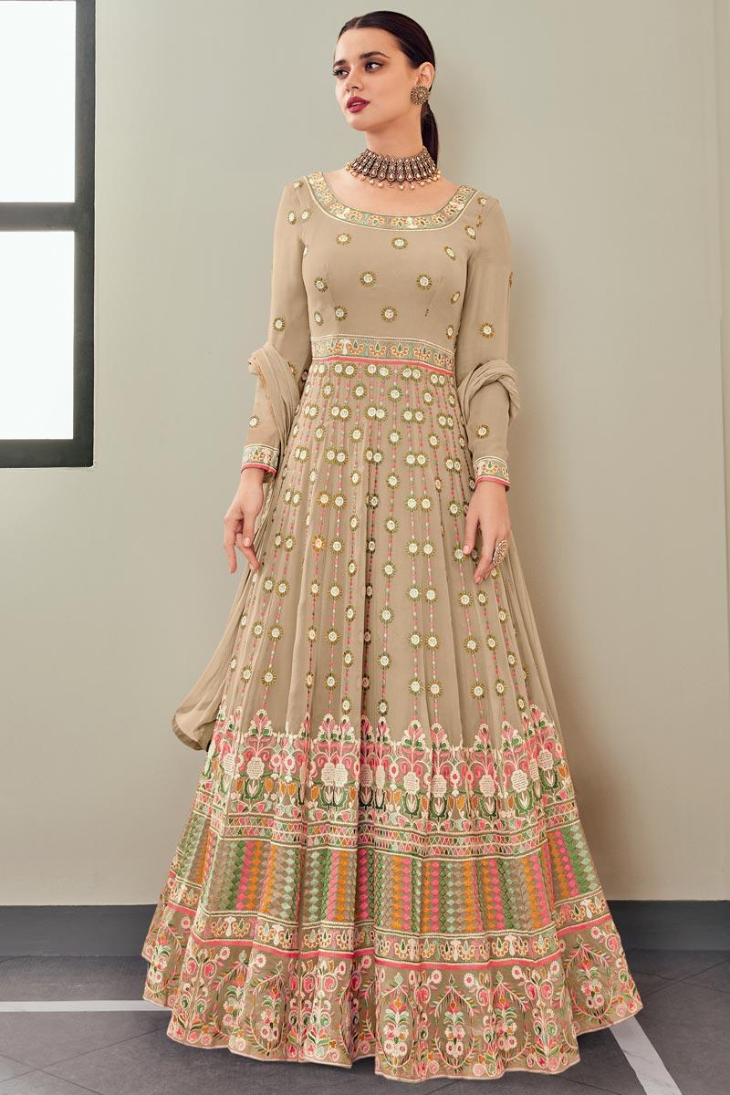 Function Wear Georgette Fabric Cream Color Elegant Embroidered Anarkali Dress