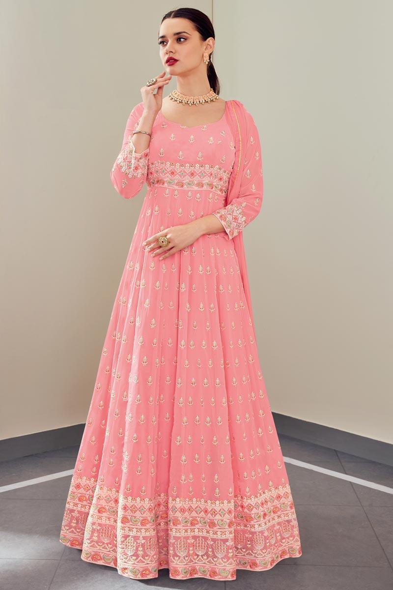 Pink Color Function Wear Elegant Embroidered Georgette Fabric Anarkali Suit