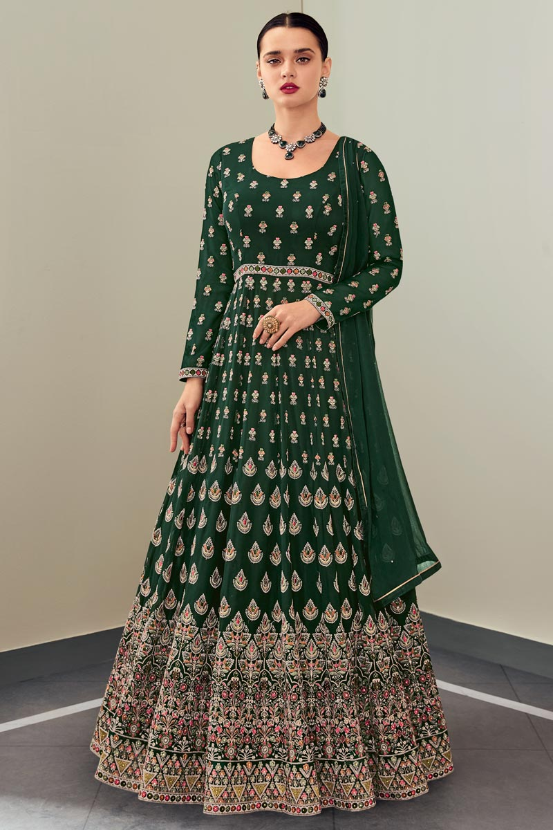 Dark Green Color Function Wear Elegant Embroidered Georgette Fabric Anarkali Dress