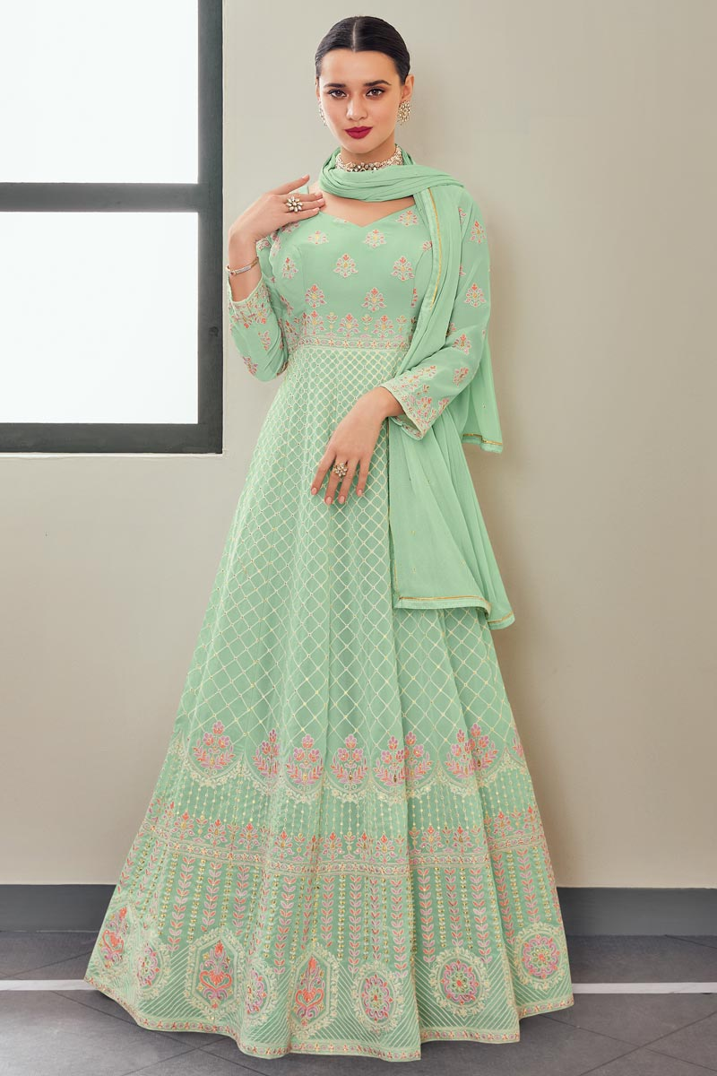 Georgette Fabric Function Wear Sea Green Color Elegant Embroidered Anarkali Suit