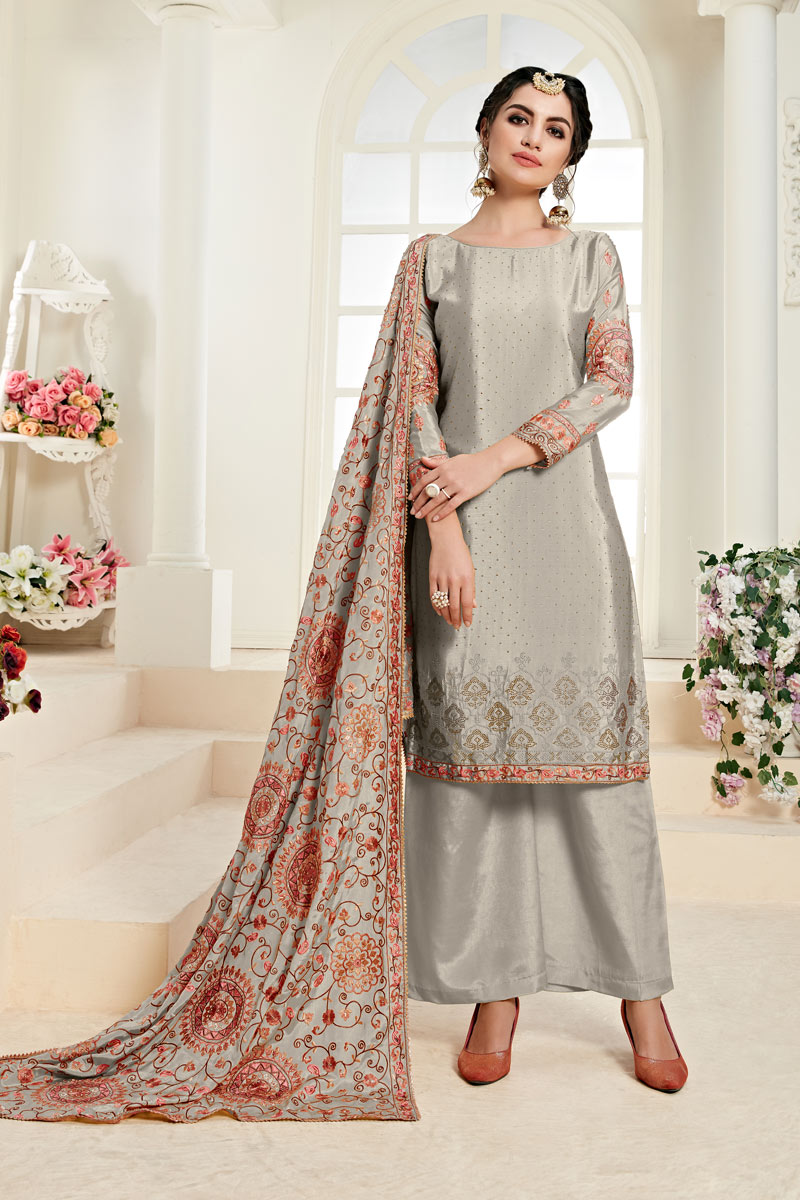 Eid Special Designer Embroidered Palazzo Suit In Chinon Fabric