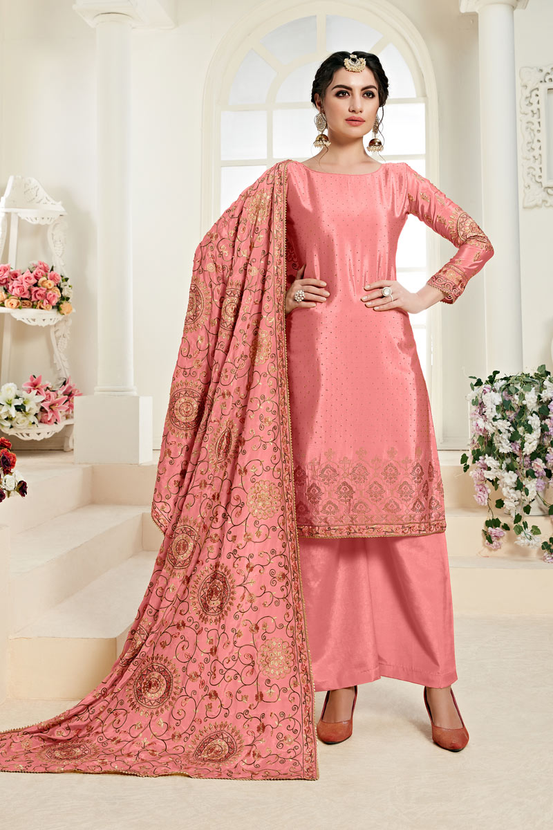 Eid Special Embroidered Pink Color Chinon Fabric Party Wear Palazzo Suit