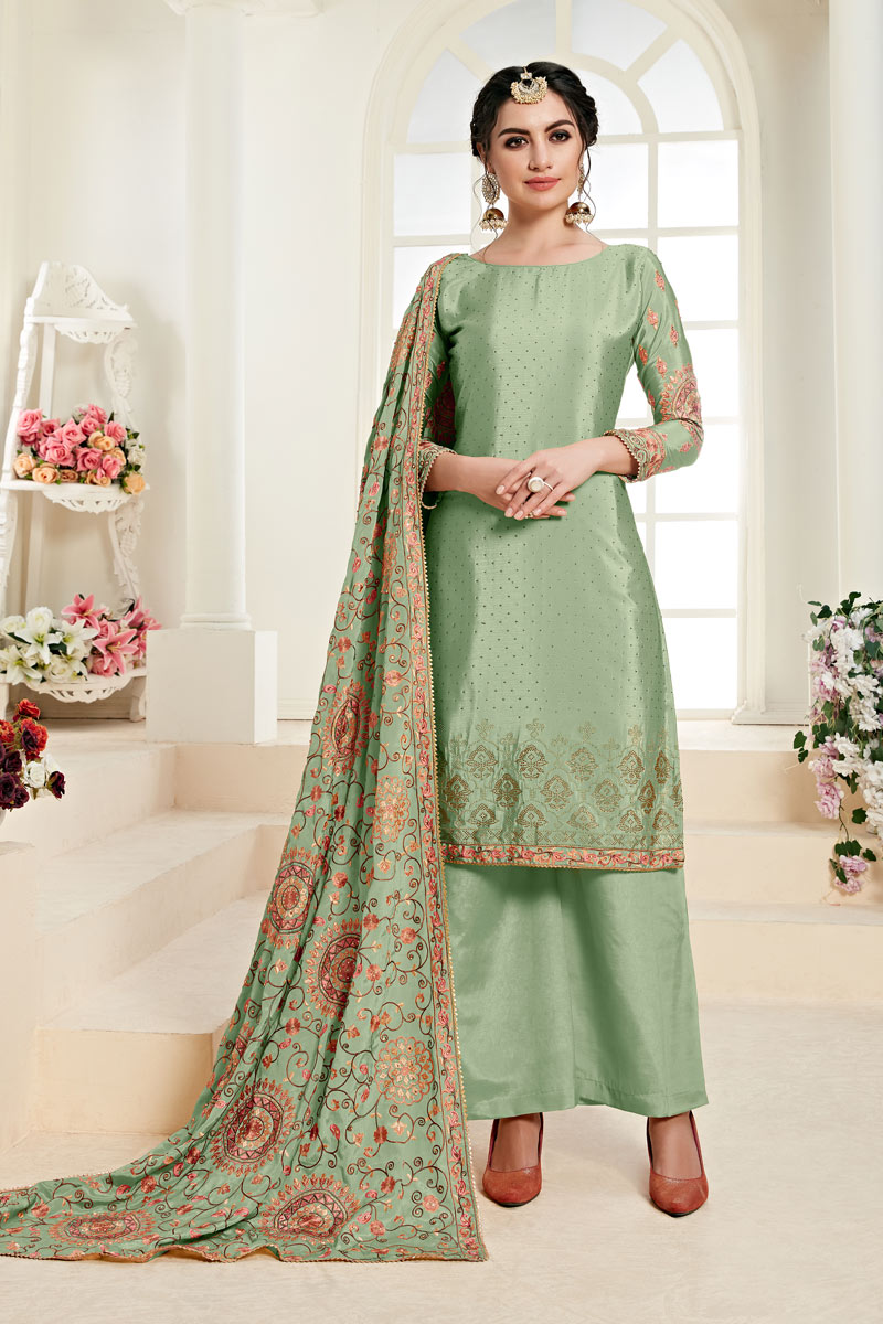 Eid Special Chinon Fabric Sea Green Color Festive Wear Palazzo Suit With Embroidery Work