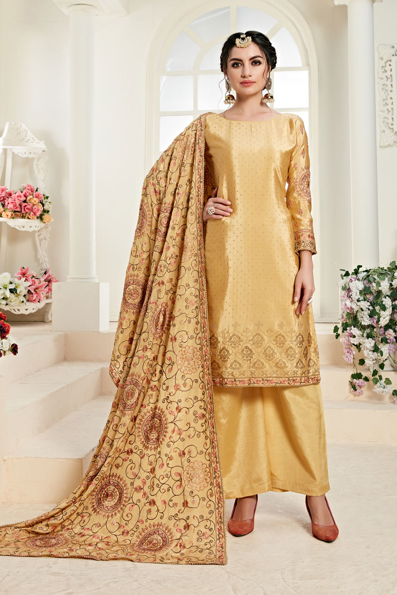 Eid Special Occasion Wear Beige Color Embroidered Palazzo Suit In Chinon Fabric