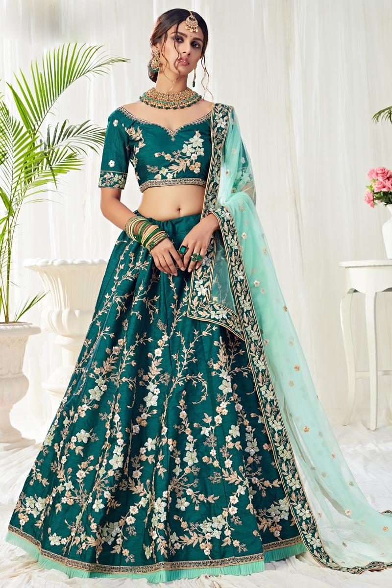 Teal Color Wedding Function Wear Art Silk Fabric Embroidered Lehenga Choli