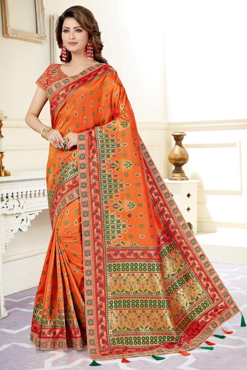 Fancy Traditional Wear Uppada Silk Weaving Work Saree In Orange