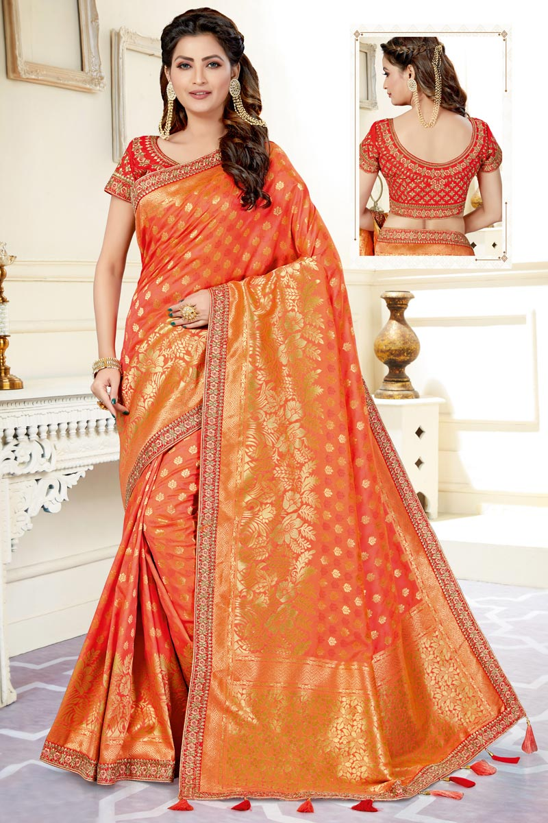 Orange Traditional Wear Fancy Uppada Silk Weaving Work Saree