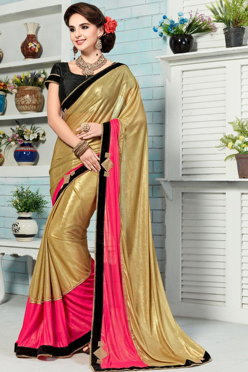 Golden Color Party Wear Designer Saree With Unstitched Raw Silk Blouse